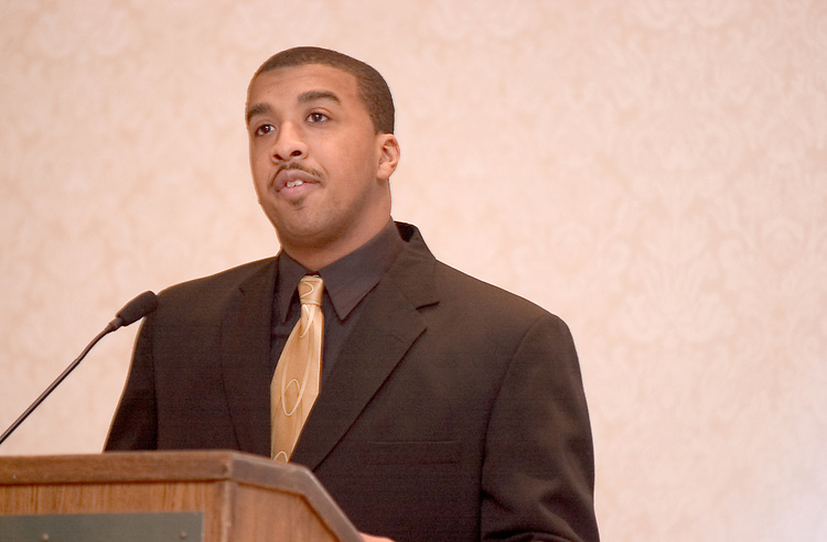 Martin Luther King Jr. Day:..Karl Daniels does introductions at Baker Center