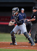 Lake Brantley Patriots catcher Luis Olivier (24) during a game against the Lake Mary Rams on April 2, 2015 at Allen Tuttle Field in Lake Mary, Florida.  Lake Brantley defeated Lake Mary 10-5.  (Mike Janes Photography)