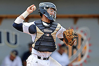 16 May 2010:  FIU's Jose Behar (8) attempts to throw out a runner stealing second as the FIU Golden Panthers defeated the University of South Alabama Jaguars, 5-0, at University Park Stadium in Miami, Florida.