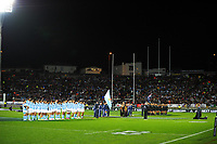 The teams line up before the Rugby Championship match between the NZ All Blacks and Argentina Pumas at Yarrow Stadium in New Plymouth, New Zealand on Saturday, 9 September 2017. Photo: Dave Lintott / lintottphoto.co.nz