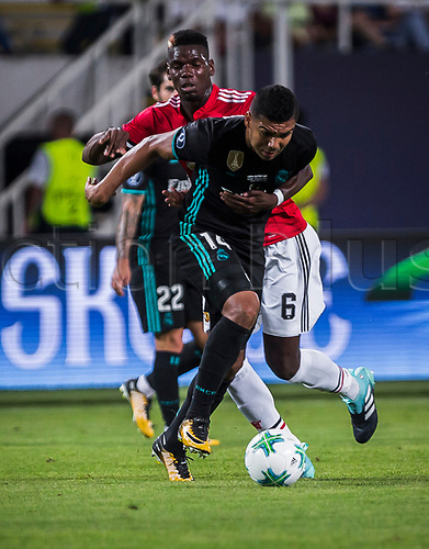 August 8th 2017, Philip II National Arena, Skopje, Macedonia; 2017 UEFA Super Cup; Real Madrid versus Manchester United; midfielder Isco of Real Madrid in action against midfielder Paul Pogba of Manchester United during the Super Cup match