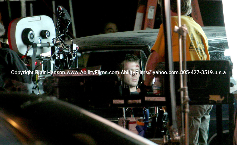"""Ryan Phillippe filming a movie called """"Stop loss"""".in Newhall california on 4-13-07. Big cut on his head. Exclusive"""