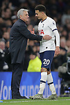 Tottenham's Head Coach Jose Mourinho shakes hands with Dele Alli as he is substituted during the Premier League match at the Tottenham Hotspur Stadium, London. Picture date: 30th November 2019. Picture credit should read: Paul Terry/Sportimage