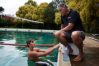 HOWICK, SOUTH AFRICA APRIL 5: Sixteen-year-old swimmer Michael Andrew trains in a pool on April 5, 2015 in Howick, Natal, South Africa. Michael has broken many records already and he is seen as the new Michael Phelps. He turned pro at 14 after signing his first endorsement deal. Peter, his father trains Michael and he grew up in the US. His parents emigrated from South Africa and he spent some time in the country in April 2015 to visit his grandparents. (Photo by: Per-Anders Pettersson)