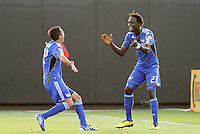 Kei Kamara #23 celebrates his opening goal with Davy Arnaud...Kansas City Wizards defeated Philadelphia Union 2-0, at Community America Ballpark, Kansas City, Kansas.