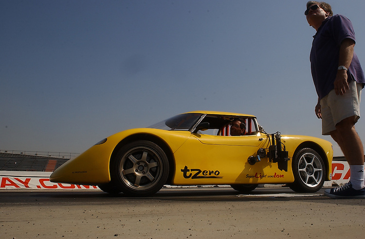 Experimental electric sports car T-Zero at the California Speedway in Fontana,  CA 3 September 2003.(Photo for The NYT/Gerard Burkhart)....
