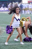 SEATTLE, WA - OCTOBER 28:  Washington cheerleader Miki Saito entertained fans during the game against UCLA on October 28, 2017 at Husky Stadium in Seattle, WA. Washington won 44-23 over UCLA.