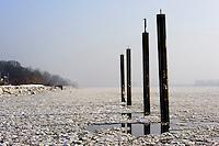 Deutschland, Hamburg, Blankenese,  Duckdalben auf der vereisten Elbe