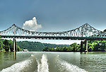 Stern view of boat's wake and one of the many bridges over the Monongahela River in Pittsburgh PA