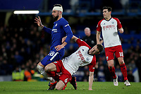 Jonny Evans of West Brom tackles Chelsea's Olivier Giroud after the striker had passed the ball to a teammate during Chelsea vs West Bromwich Albion, Premier League Football at Stamford Bridge on 12th February 2018