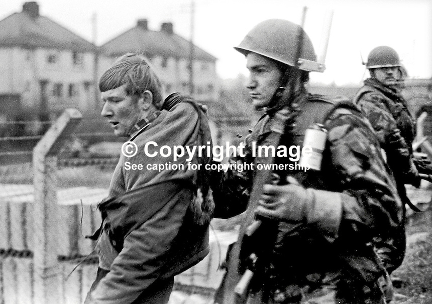A participant in the the Dungannon Civil Resistance Committee march to Coalisland on 23rd January 1972 is &quot;collared&quot; by a British soldier attempting to  inforce the ban on marches imposed by Ulster Unionist Prime Minister Brian Faulkner on 18 January 1972. 197201230027c<br />