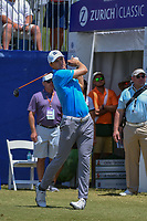 Jordan Spieth (USA) watches his tee shot on 1 during Round 2 of the Zurich Classic of New Orl, TPC Louisiana, Avondale, Louisiana, USA. 4/27/2018.<br /> Picture: Golffile | Ken Murray<br /> <br /> <br /> All photo usage must carry mandatory copyright credit (&copy; Golffile | Ken Murray)
