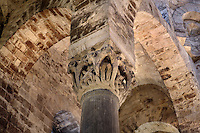 Detail of spolia columns with carved capital, intrados of the Byzantine style arcades, Chiesa di San Cataldo (Church of San Cataldo, La Cataldo), 1154, Palermo, Sicily, Italy. The Romanesque church with Arab influences was founded by Maio of Bari, chancellor to William I, during the Norman occupation of Sicily. Picture by Manuel Cohen