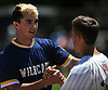 Brian Morrell #23, Shoreham-Wading River pitcher, shakes hands with Wantagh players after the Class A varsity baseball Long Island Championship at SUNY Old Westbury on Saturday, June 3, 2017.