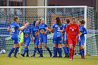 20191221 - WOLUWE: Gent's players are celebrating the goal during the Belgian Women's National Division 1 match between FC Femina WS Woluwe A and KAA Gent B on 21st December 2019 at State Fallon, Woluwe, Belgium. PHOTO: SPORTPIX.BE | SEVIL OKTEM
