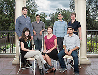 Oxy's 2015 class of new assistant professors includes (clockwise from top left) Adam Schoenberg (music), Justin Li (cognitive science), Ross Lerner (English), Virginia Parks (UEP),Jesse Mora (economics), Amanda Zellmer (biology) and Sarah Kozinn (theater). Photographed on Sept. 15, 2015 on Branca Patio.<br />