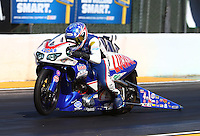 Jul. 25, 2014; Sonoma, CA, USA; NHRA pro stock motorcycle rider Hector Arana Jr during qualifying for the Sonoma Nationals at Sonoma Raceway. Mandatory Credit: Mark J. Rebilas-