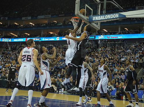 16.01.2014 London, England.  Brooklyn Nets' Guard Shaun Livingston [14] scores during the NBA regular season game between the Atlanta Hawks and the Brooklyn Nets from the O2 Arena.