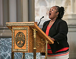 "Sandra Bowen performs ""DePaul University: Our Home of Hope and Grace"" at the St. Vincent de Paul Parish Church Thursday, Aug. 31, 2017, during the annual Academic Convocation. (DePaul University/Jamie Moncrief)"