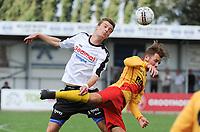 Beker van Belgi&euml; :<br /> Eendracht Wervik - SK Eernegem :<br /> Luchtduel tussen Aaron Verstraete (L) en Robinson Woodruff (R)<br /> <br /> Foto VDB / Bart Vandenbroucke