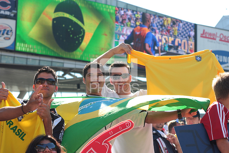 Fans at an international friendly between the men's national team of Brazil and the USA at Soldier Field, Chicago, IL, on September 09, 2007. Brazil defeated the USA 4-2.