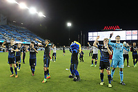 "San Jose, CA - Wednesday September 27, 2017: San Jose Earthquakes, Francois Affolter, Valeri Qazaishvili ""Vako"", Chris Wondolowski, Florian Jungwirth, Andrew Tarbel during a Major League Soccer (MLS) match between the San Jose Earthquakes and the Chicago Fire at Avaya Stadium."