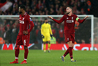 Liverpool's Jordan Henderson (right) reacts with frustration as the game draws to a close<br /> <br /> Photographer Rich Linley/CameraSport<br /> <br /> UEFA Champions League Round of 16 First Leg - Liverpool and Bayern Munich - Tuesday 19th February 2019 - Anfield - Liverpool<br />  <br /> World Copyright © 2018 CameraSport. All rights reserved. 43 Linden Ave. Countesthorpe. Leicester. England. LE8 5PG - Tel: +44 (0) 116 277 4147 - admin@camerasport.com - www.camerasport.com