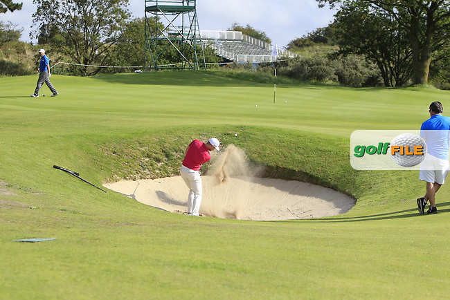 Oliver Fisher (ENG) plays out of a bunker on the 12th during the Practice-Round of the 2015 KLM Open at the Kennemer Golf &amp; Country Club in The Netherlands on 9/9/15.<br /> Picture: Thos Caffrey | Golffile