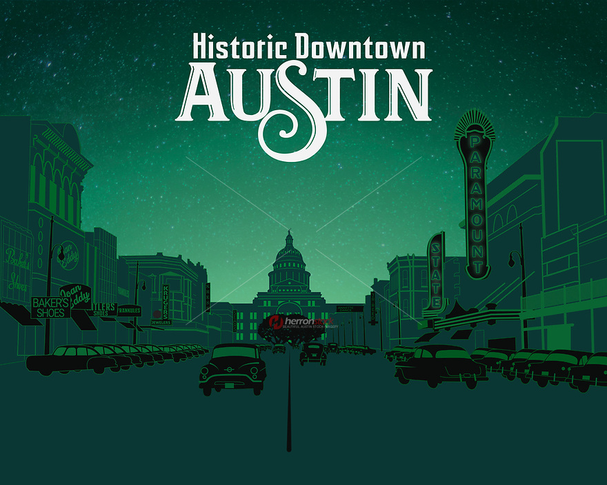 This fine art print celebrates the Historic Downtown Austin.<br />