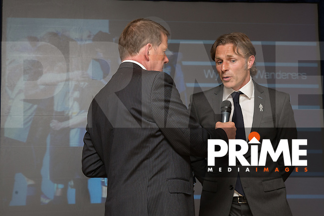 Wycombe Wanderers Manager, Gareth Ainsworth, is interviewed by Bill Turnbull, during the Wycombe Wanderers End of Season 2016 Awards Dinner at Adams Park, High Wycombe, England on 1 May 2016. Photo by David Horn