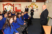 09-05-2014:  Minister for Education and Skills Ruairi Quinn T.D. performed the formal sod turning ceremony to mark the beginning of the construction phase for a new school for  Presentation Secondary School, Milltown, Co. Kerry on Friday. He is pictured here  students from  Presentation Secondary School, Milltown.  Picture: Eamonn Keogh (MacMonagle, Killarney)