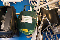 """A bin is labeled """"marijuana waste only"""" at the production and packaging facility for Garden Remedies, a medical cannabis producer, in Fitchburg, Massachusetts, USA, on Fri., Feb. 22, 2019."""