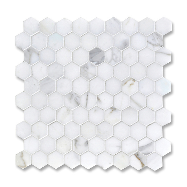 3 cm Hex shown in Statuary Carrara (available in honed or polished finish) is part of New Ravenna's Studio Line of ready to ship mosaics.