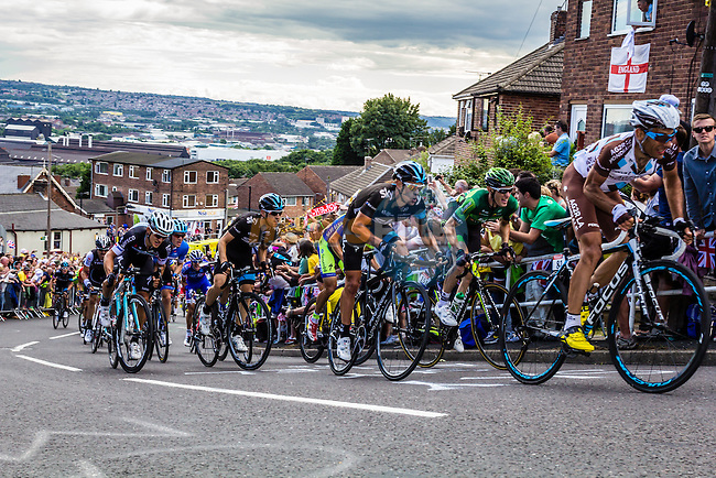 The peleton including Jean Christophe Perraud (FRA) AG2R La Mondiale, Richie Porte (AUS) and Mikel Nieve (ESP) Team Sky tackle Cote du Jenkin Road the final brutal climb near the end of Stage 2 of the 2014 Tour de France running 200km from York to Sheffield. 6th July 2014.<br /> Picture:Thomas van Bracht/Peloton Photos/www.newsfile.ie