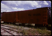 Side 3/4 view of D&amp;RGW refrigerator car #167 displayed at Colorado Railroad Museum.<br /> D&amp;RGW  Golden, CO