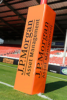 20130801 Copyright onEdition 2013 ©<br /> Free for editorial use image, please credit: onEdition.<br /> <br /> JP Morgan branding on the post wraps before the J.P. Morgan Asset Management Premiership Rugby 7s Series.<br /> <br /> The J.P. Morgan Asset Management Premiership Rugby 7s Series kicks off for the fourth season on Thursday 1st August with Pool A at Kingsholm, Gloucester with Pool B being played at Franklin's Gardens, Northampton on Friday 2nd August, Pool C at Allianz Park, Saracens home ground, on Saturday 3rd August and the Final being played at The Recreation Ground, Bath on Friday 9th August. The innovative tournament, which involves all 12 Premiership Rugby clubs, offers a fantastic platform for some of the country's finest young athletes to be exposed to the excitement, pressures and skills required to compete at an elite level.<br /> <br /> The 12 Premiership Rugby clubs are divided into three groups for the tournament, with the winner and runner up of each regional event going through to the Final. There are six games each evening, with each match consisting of two 7 minute halves with a 2 minute break at half time.<br /> <br /> For additional images please go to: http://www.w-w-i.com/jp_morgan_premiership_sevens/<br /> <br /> For press contacts contact: Beth Begg at brandRapport on D: +44 (0)20 7932 5813 M: +44 (0)7900 88231 E: BBegg@brand-rapport.com<br /> <br /> If you require a higher resolution image or you have any other onEdition photographic enquiries, please contact onEdition on 0845 900 2 900 or email info@onEdition.com<br /> This image is copyright the onEdition 2013©.<br /> <br /> This image has been supplied by onEdition and must be credited onEdition. The author is asserting his full Moral rights in relation to the publication of this image. Rights for onward transmission of any image or file is not granted or implied. Changing or deleting Copyright information is illegal as specified in the Copyright, Design and Patents Act 1988. If 