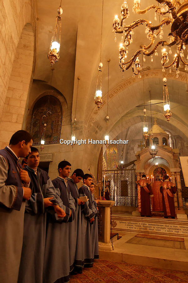 Israel, Jerusalem Old City, Armenian Orthodox Palm Sunday ceremony at the Church of the Holy Sepulchre, 2005<br />