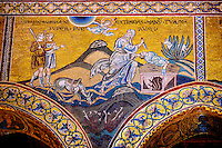 Byzantine mosaics in the Cathedral of Monreale - The Sacrifice of Isaac - Palermo - Sicily Pictures, photos, images & fotos photography