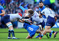 2019 Six Nations Championship Round 1, BT Murrayfield, Edinburgh, Scotland 2/2/2019 Scotland vs Italy Scotland s Grant Gilchrist and Jamie Ritchie tackle Sergio Parisse of Italy Grant Gilchrist and Jamie Ritchie tackle Sergio Parisse 2/2/2019<br /> Foto INPHO/Imago/Tommy Dickson/Insidefoto