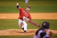 Ball State Cardinals starting pitcher Zach Plesac (11) delivers a pitch during a game against the Wisconsin-Milwaukee Panthers on February 26, 2016 at Chain of Lakes Stadium in Winter Haven, Florida.  Ball State defeated Wisconsin-Milwaukee 11-5.  (Mike Janes/Four Seam Images)