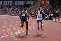 Benjamin Kigen of Kenya is pushed away by winner Conseslus Kipruto of Kenya during the Men's 3000m Steeplechase at the Muller Grand Prix  IAAF Diamond League meeting at Alexander Stadium, Perry Barr, Birmingham.<br /> Picture by Alan Stanford +44 7915 056117<br /> 18/08/2018
