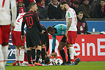 30.11.2019, RheinEnergieStadion, Koeln, GER, 1. FBL, 1.FC Koeln vs. FC Augsburg,<br />  <br /> DFL regulations prohibit any use of photographs as image sequences and/or quasi-video<br /> <br /> im Bild / picture shows: <br /> Birger Verstraete (FC Koeln #8), verletzt am Boden<br /> <br /> Foto © nordphoto / Meuter