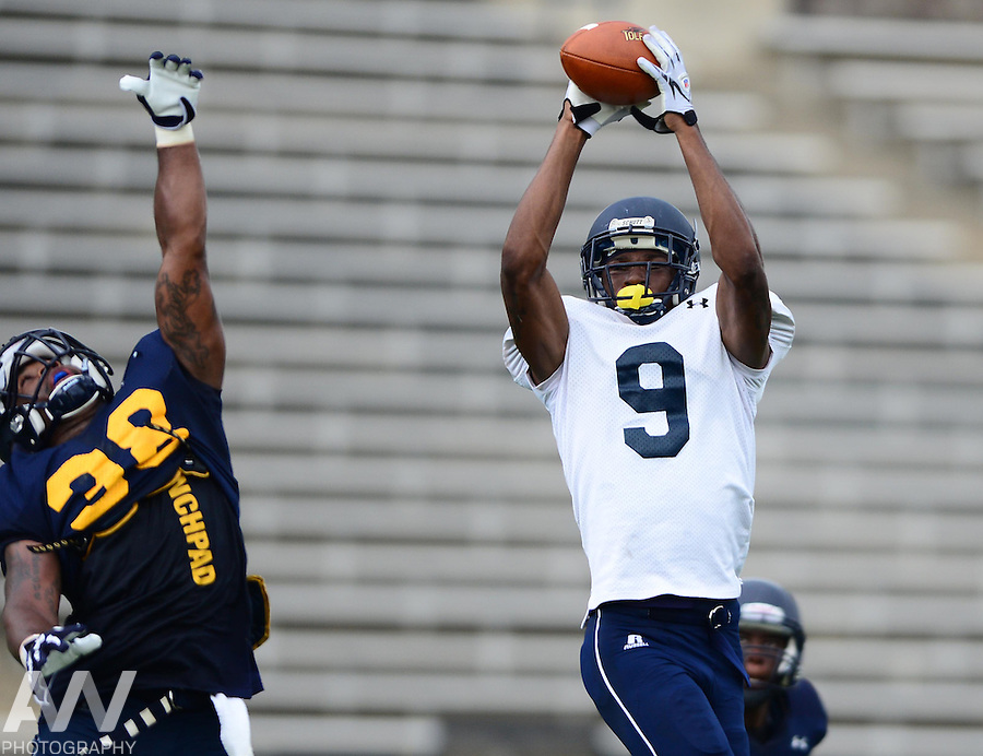 Aug 15, 2012; Toledo, OH, USA; Toledo Rockets wide receiver Alonzo Russell (9) during practice at the Glass Bowl. Mandatory Credit: Andrew Weber-US Presswire