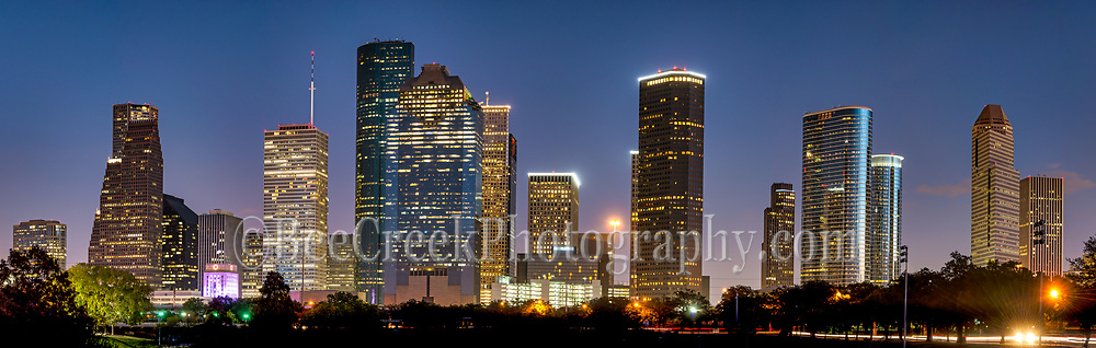 Another Houston skyline panorama at night in the downtown area which include all the high rise buildings like the Well Fargo, Smith Street, the American Bank, Heritage Plaza and more. Houston is a city of skyscraper some of the tallest buildings in the south are located in here in the downtown area.