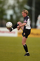 Linda Ormen of the New York Power steadies a ball during a game against the Boston breakers at mitchel Athletic Complex on May 18th. The Power lost 2-1.