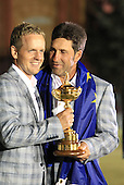 Winning European Team Captain Jose Maria Olazabal (ESP) and Luke Donald (ENG) after Sunday's Singles Matches of the 39th Ryder Cup at Medinah Country Club, Chicago, Illinois 30th September 2012 (Photo Colum Watts/www.golffile.ie)