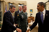 Washington, DC - December 7, 2009 -- United States President Barack Obama meets with General Stanley McChrystal, Commander, International Security Assistance Force, U.S. Ambassador to Afghanistan Karl Eikenberry, and National Security Advisor General James Jones, in the Oval Office, Monday, December 7, 2009. .Mandatory Credit: Pete Souza - White House via CNP