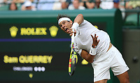 Rafael Nadal (ESP) during his match against Sam Querrey (USA) in their Gentleman's Singles Quarter Final match<br /> <br /> <br /> Photographer Rob Newell/CameraSport<br /> <br /> Wimbledon Lawn Tennis Championships - Day 9 - Wednesday 10th July 2019 -  All England Lawn Tennis and Croquet Club - Wimbledon - London - England<br /> <br /> World Copyright © 2019 CameraSport. All rights reserved. 43 Linden Ave. Countesthorpe. Leicester. England. LE8 5PG - Tel: +44 (0) 116 277 4147 - admin@camerasport.com - www.camerasport.com