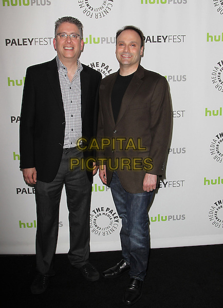 "Bill Prady, Steven Molaro.30th Annual Paley Fest - ""The Big Bang Theory"" held at the Saban Theatre, Beverly Hills, California, USA..March 13t, 2013.full length black jacket grey gray check shirt glasses brown  trousers jeans denim .CAP/ADM/KB.©Kevan Brooks/AdMedia/Capital Pictures."