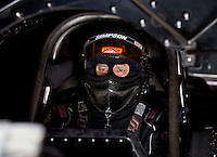 Sept. 1, 2013; Clermont, IN, USA: NHRA funny car driver Paul Lee during qualifying for the US Nationals at Lucas Oil Raceway. Mandatory Credit: Mark J. Rebilas-